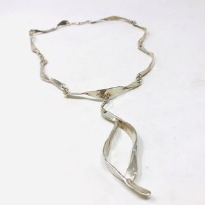 Jewelry - Modernist, hand wrought sterling necklace, 36.7g